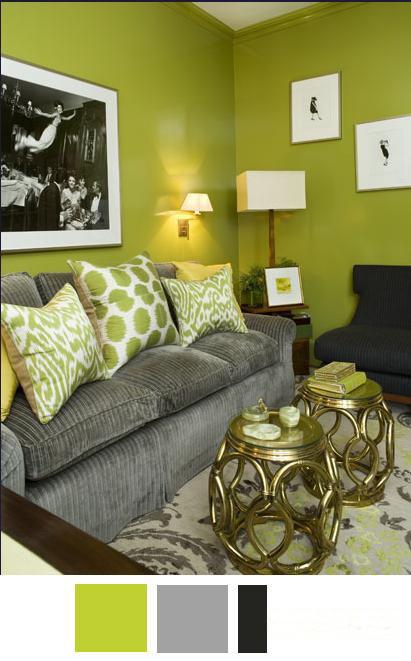 Coordina con verde y gris para tu estancia kimobel for Decoracion de interiores en tonos grises