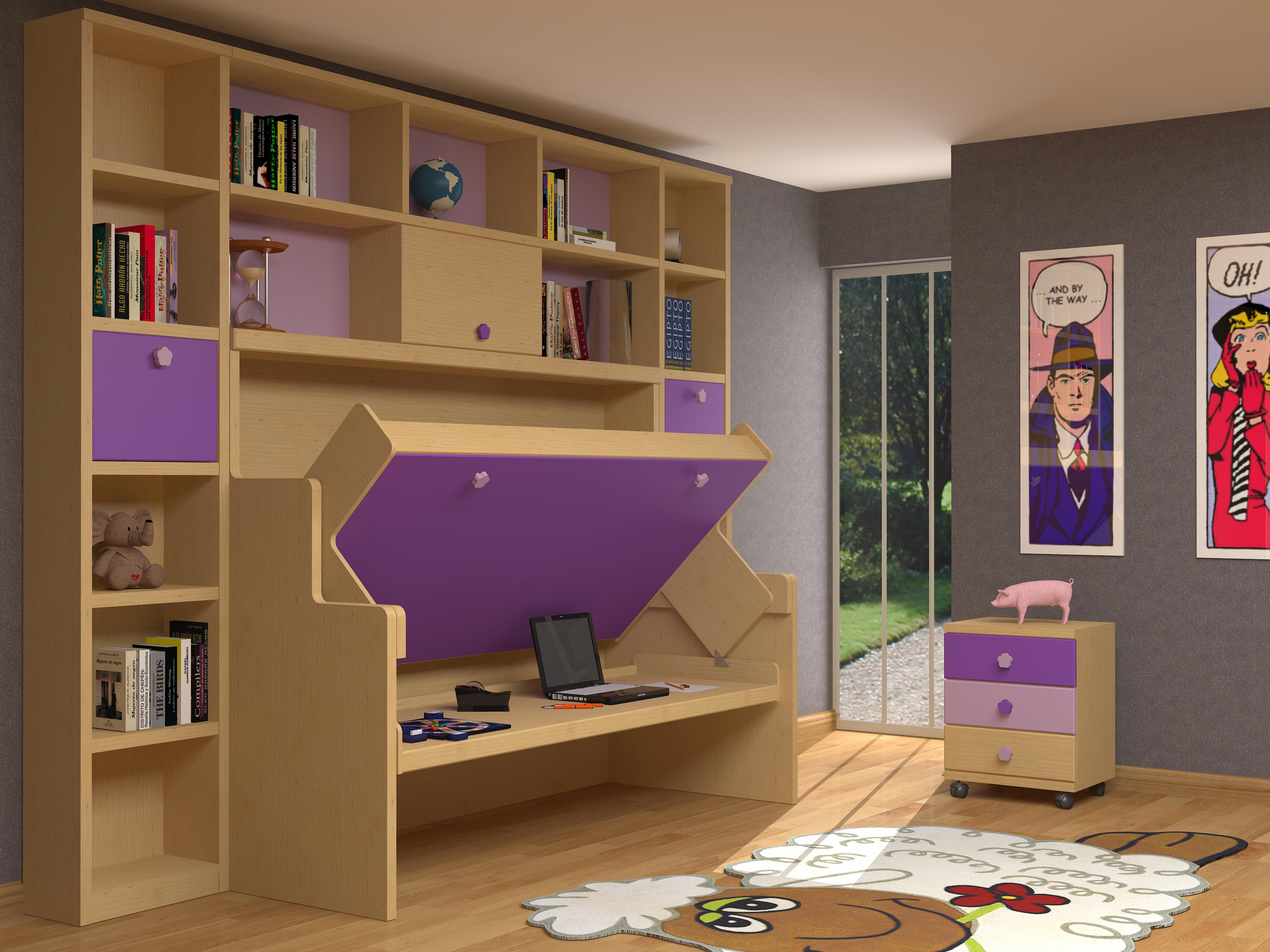 Soluciones de espacio en juveniles kimobel dise o - Habitaciones con literas abatibles ...